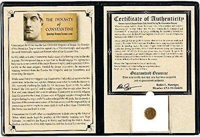 Ancient Roman Constantine Coin,4th Century A.D with Certificate and Album
