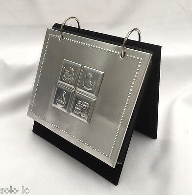 """Baby Ring Binder Standing Photo Album Silver Metal Cover 36 Photos 4"""" x 6"""""""