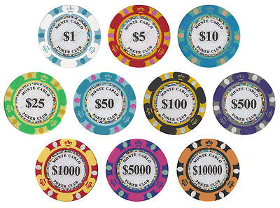 New Bulk Lot of 300 Monte Carlo 14g Clay Poker Chips - Pick Denominations!
