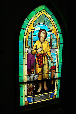 "+ Figural Stained Glass Window (#7 of 9) + 34 3/4"" w. x 72"" ht. + chalice co. +"