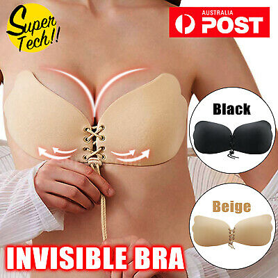 STRAPLESS BACKLESS BRA Push Up Stick On Silicone Lingerie Drawstring Adjustable