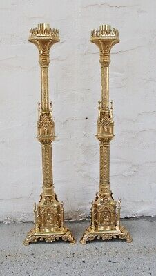 """+ Pair of Ornate Gothic Brass Altar Candlesticks 41"""" ht. + chalice co. + (#132)"""