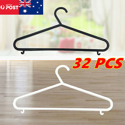 32x white Black Plastic Clothes Hangers Clothing Hanger Coat Versatile Clothes