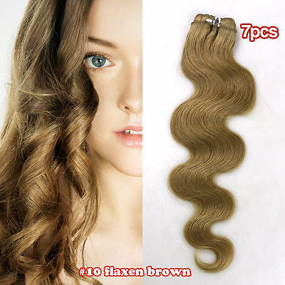 Clip In Wavy 100% Remy Human Hair Extension Full Head 14inch #10 FLAXEN