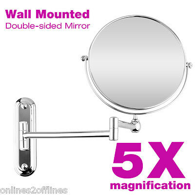 Beauty Wall Mounted Bathroom 2-Side 5x Magnifying Makeup Cosmetic Shaving Mirror