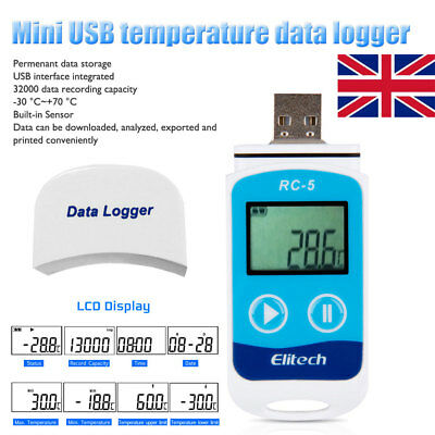 USB Temperature Data logger Datalogger Temp Recorder 32000 Point Meter CR2032 UK