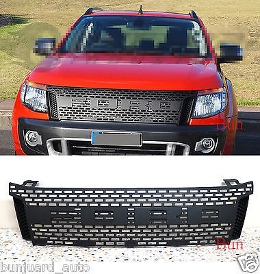 Raptor Front Matte Black Hood Grille for 2012-2015 Ford Ranger T6 No LED 13 14