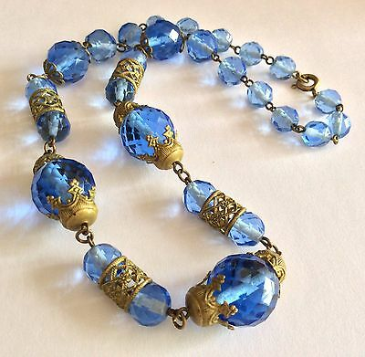 Antique Czech faceted blue glass & pressed gold-tone metal necklace