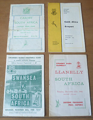 1960/61 - South African Touring Programmes (x4) to Wales.