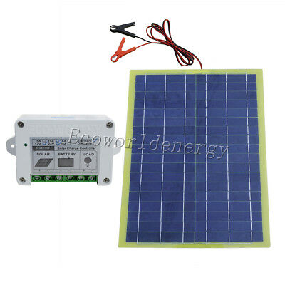 Portable 20W Epoxy Solar Panel Kit W/ PWM 10A Controller for 12V Battery Charge