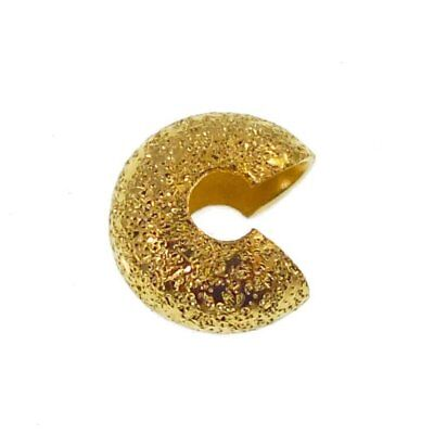 3mm Stardust Crimp Bead Cover Findings - Gold Plated - 50pcs