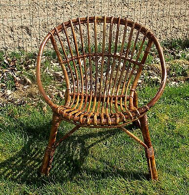 Small Mid Century Modern  Rattan  Hoop Chair Wicker Authentic Child era Rohé