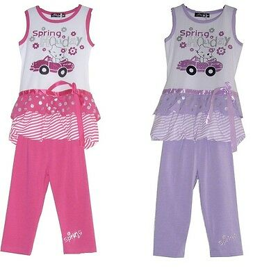 Girls Outfit New Gorgeous Spring Holiday Top & Leggings Set Party Outfit.3-6yrs