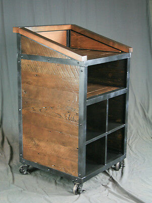 Industrial Host Stand. Rustic Podium. Handmade Lectern. Reclaimed Wood and Steel