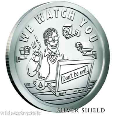 "Pyramid Of Power ""We Watch You"" 1 Oz Bu Silver Shield *In-Hand* Box & Coa Sbss"