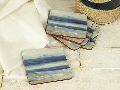 Set of 6 ABSTRACT Ocean View PREMIUM Cork-Backed COASTERS
