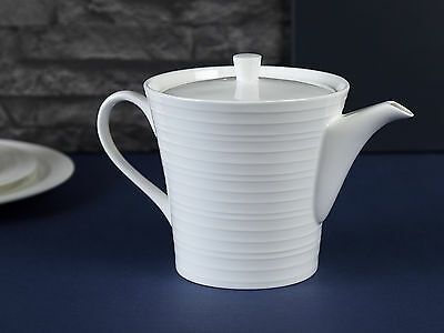 MIKASA Ciara White Fine Bone China FLUTED TEAPOT, 1.15L