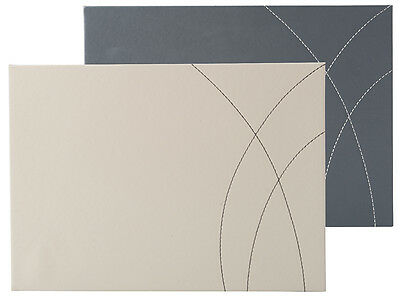 Set of 4 GREY Faux Leather REVERSIBLE PLACEMATS