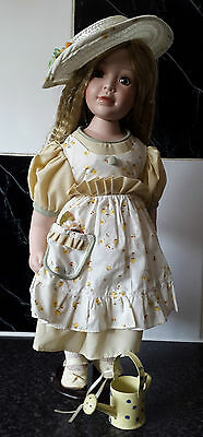 """New Porcelain Doll """"Country Garden"""" 18"""" with stand. Collectors Item"""
