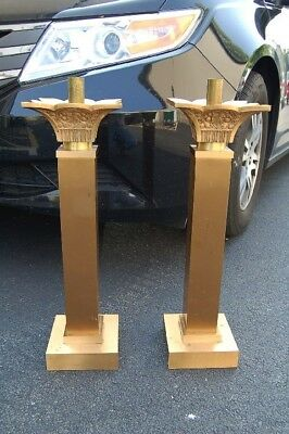 "+ Pair of nice older Bronze Altar candlesticks + 21 1/2"" + + chalice co.+ (#527)"