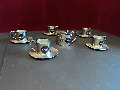 Vemi Espresso Coffee Cups, Saucers, Creamer Stainless Steel 18/10 Italy 6pc Set