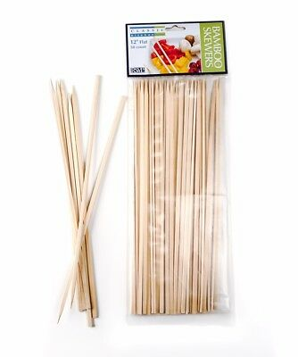 """RSVP 12"""" Flat Bamboo Skewers 50 Ct Bbq Grilling Appetizer Meat Chicken Steak New"""
