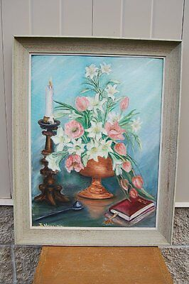 """+ Old Signed Oil Painting on Board, Framed """"Still Life Flowers""""+ chalice co. +"""