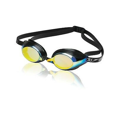 Speedo Speed Socket Mirrored Swim-Swimming Anti-Fog Racing Goggles (Deep Gold)
