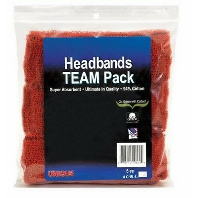 Unique Sports Cotton Team Headbands, Sweatbands Basketball 6 Pack-Red 94% Cotton