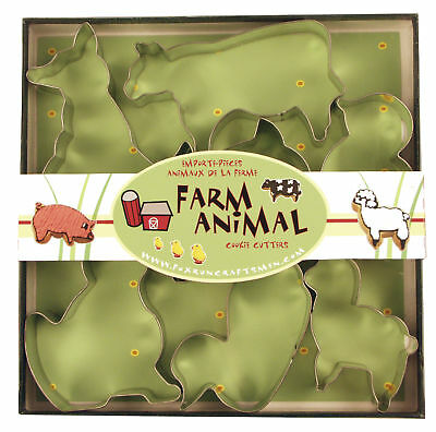 """Fox Run Cookie Cutter Set Boxed Farm Animal Shapes Tin Plated Steel 2-3"""" Long"""
