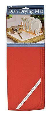 "Envision Home Red DISH DRYING MAT 16"" x 18"" Absorbent Microfiber Durable"
