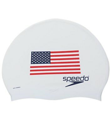 Speedo Adult Performance Swimming USA Flag Dome Swim Cap, One-Size Stretch Fit
