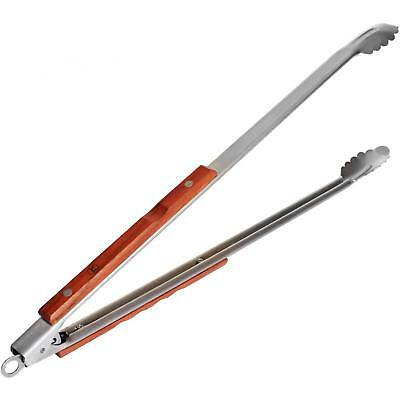 Outset Rosewood Extra-Long 22 Inch Stainless Steel Locking BBQ Tongs
