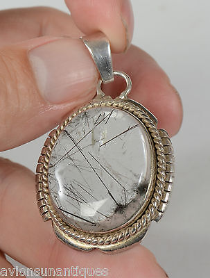 Hare's Fur Rock Crystal and Silver Pendant