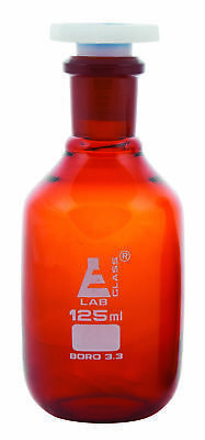 125ml Amber Reagent Bottle , with Acid Proof Polypropylene stopper, socket 19/26