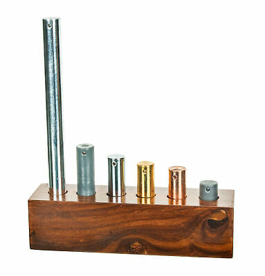 Equal Mass Cylinders (16mm Dia.), Set of 6 with Wood Base