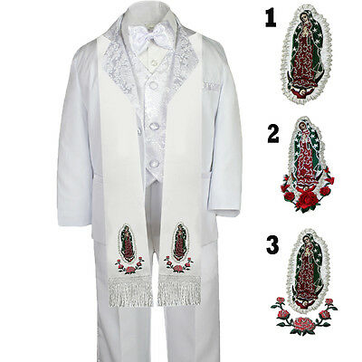 6pc Boy Toddler Baby Communion Baptism Christening White Tuxedo Suit Stole SM-20