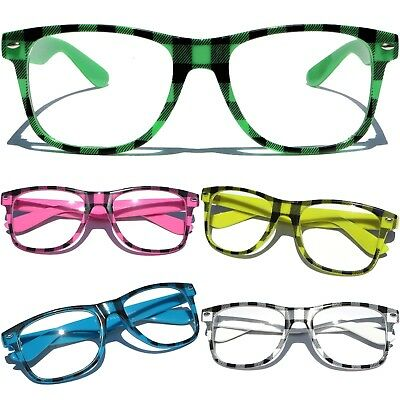 Plaid Color Frame Clear Lens Glasses Horn Rim RETRO Nerd Hipster Fashion Pattern