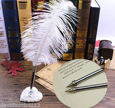 Ostrich White  Feather Guest Book Quill Pen Wedding Party Wonderful Gift