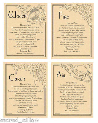 Element Evocation Poster on Parchment A4 Earth Fire Water Air - Wicca - Altar