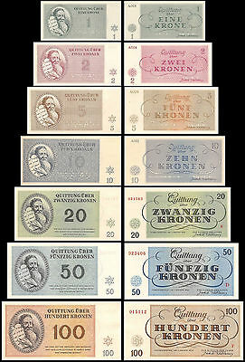 Czechoslovakia 1,2,5,10,20,50,100 Kronen Theresienstadt Full Set, 1943,P-701T707