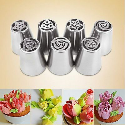 7PCS Stainless Steel Russian Icing Piping Nozzles Pastry Cake Cupcake Rose Mould