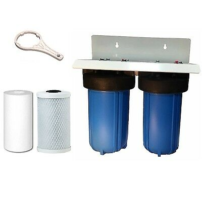"""Whole House Water Filter System 10"""" x 4"""" Big Blue Twin Stage Sediment & Carbon"""