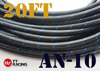 """10An An10 -10An 5/8"""" Nylon Stainless Steel Braided Oil Fuel Line Hose 20Ft"""