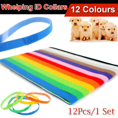 12pcs Colorful Puppy Kitten Neck ID Collar Whelping Pet Sticky Tags Soft Fabric