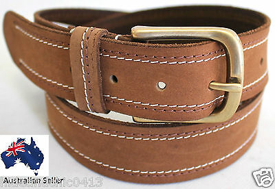 New Quality Genuine Full Grain Leather Men's Tan Belt Australian Seller 43004.