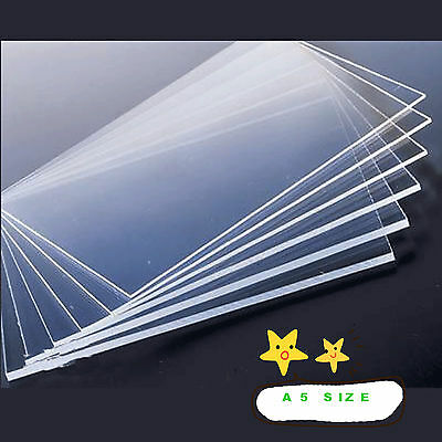 2mm Clear Plastic Acrylic Plexiglass Perspex Sheet A5 Size 148mm x 210mm