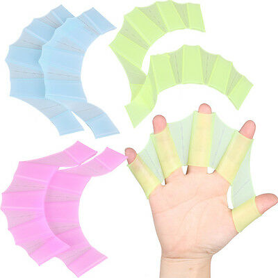 Silicone Swimming Hand Fins Flippers Swim Palm Finger Webbed Gloves Paddle NEW
