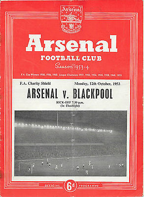 Arsenal v Blackpool, 1953/54 - Charity Shield Match Programme.