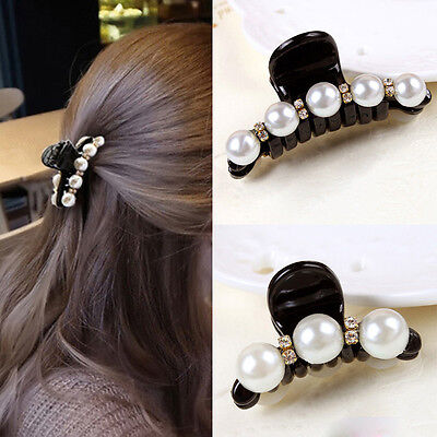 New Fashion Women Lady Pearl Crystal Hair Clip Clamp Claw Hair Accessory